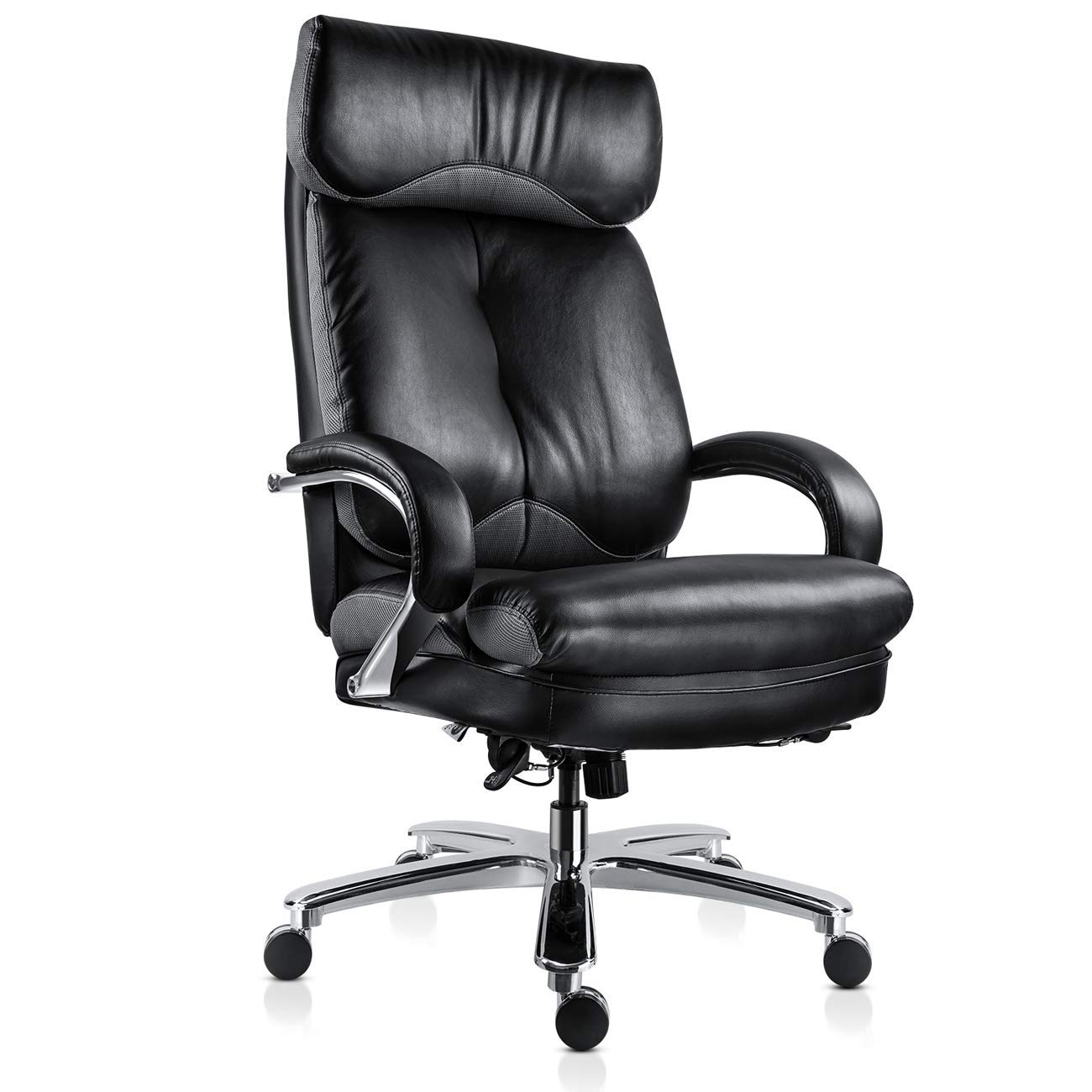Mdl furniture executive office chair big and tall 500lbs ergonomic home office chair thick padded seat heavy duty office chair with tilt function black