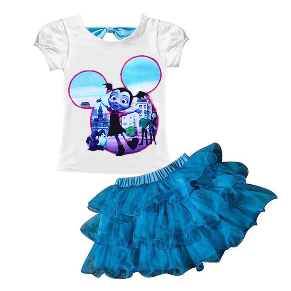 AOVCLKID Vampirina Little Girls 2Pcs Suit Cartoon Shirt and Skirt Set