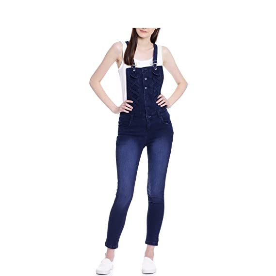 60cb12815fa2 Jubination Girls Ice Blue Skinny Fit Ice Blue Denim Dungaree Jeans ...