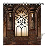 Liguo88 Custom Waterproof Bathroom Shower Curtain Polyester Gothic Decor Collection Illustration of Antique Myst Gate with Oriental Islamic Pattern and Curvings Artistic Design Brown Decorative bathr