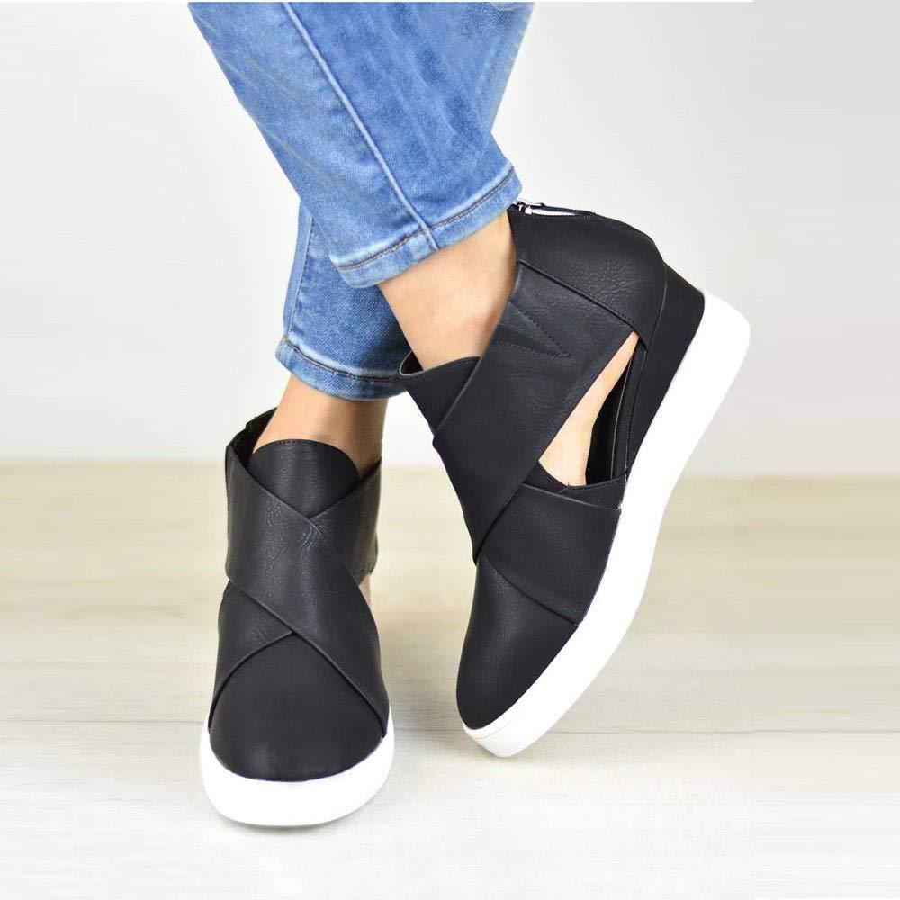 Kauneus  Women's Concise Criss-Cross Cut-Out Wedge Sneakers Comfortable Back Zipper Shoes Black by Kauneus Fashion Shoes (Image #4)