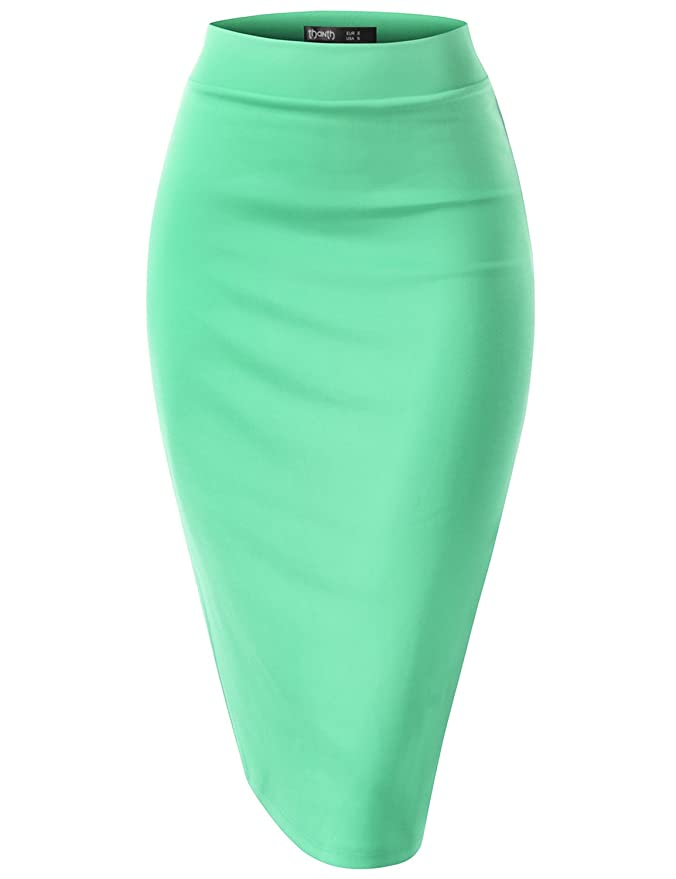 8f9ff7291b4 TWINTH Pencil Skirts Plus Size Casual Skirt Elastic Waist Band Scuba  Streychy Solid Color at Amazon Women s Clothing store