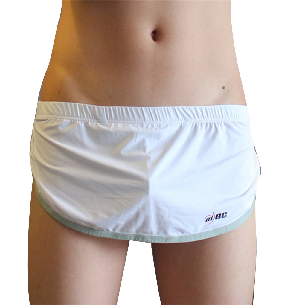 Babysbreath Herren Boxer Open Side Nahtlose U Convex Pouch Breathable Solid Color EIS Seide Casual Home Unterhose