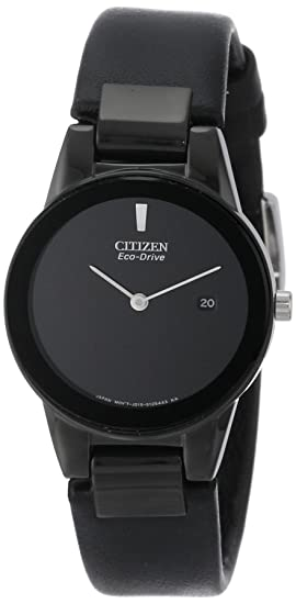 2ce007d650c Citizen Women s GA1055-06E Eco-Drive Axiom Stainless Steel and Black  Leather Watch