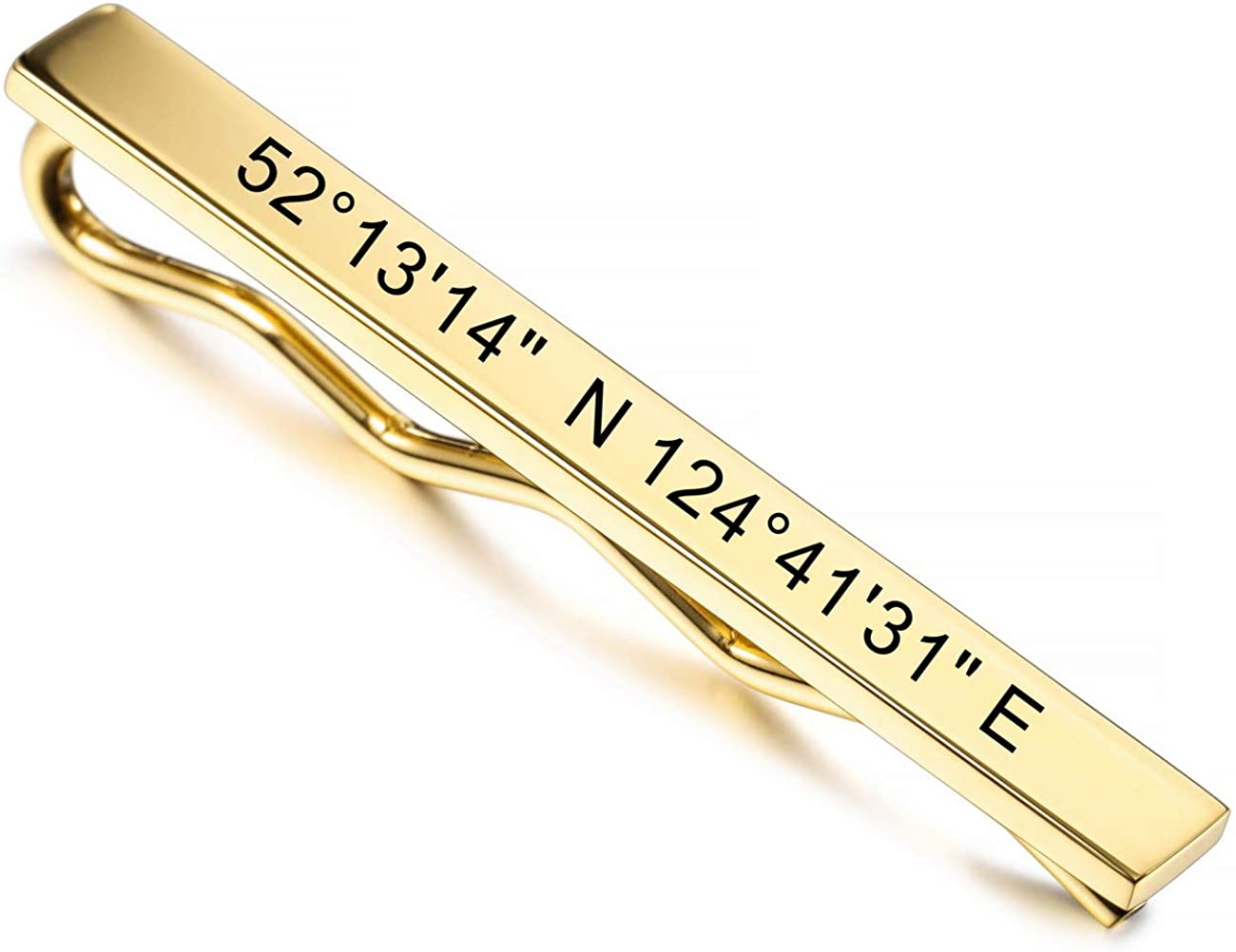 MeMeDIY Custom Tie Clip Engraving Name Date Personalized Tie Bars for Men Boys Stainless Steel Water Resistant Jewelry Wedding Anniversary Business Gift for Father Husband Groom