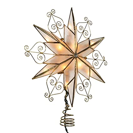 Kurt Adler 10-Light 6-Point Capiz Star Treetop with Scroll Design best Christmas tree topper