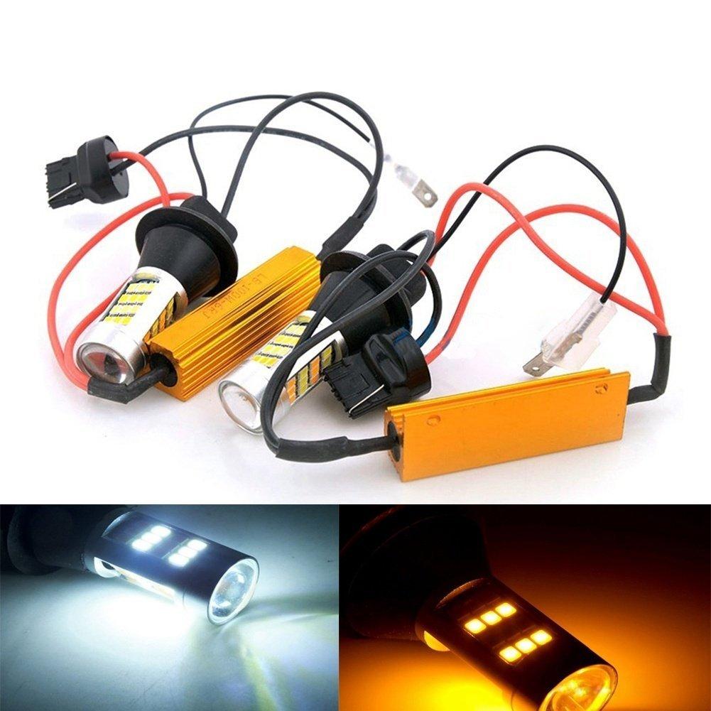 Katur 3156 3156A 3456 bianco/ambra Switchback LED indicatore di direzione Canbus senza errori 2835 42SMD 800Lumen 12 V LED con 50 W 6Ohm resistenze di carico (confezione da 2)