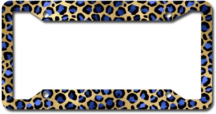 DQVWGK Floral Leopard Custom Aluminum License Plate Frames Cover for Car License Plate Cover with 4 Holes Car Tag 6x12