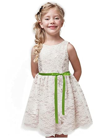 858ee59dd34 Shop Ginger Wedding Ivory Flower Girl Dress Lace Bow Sash Children  Communion D6 (1T