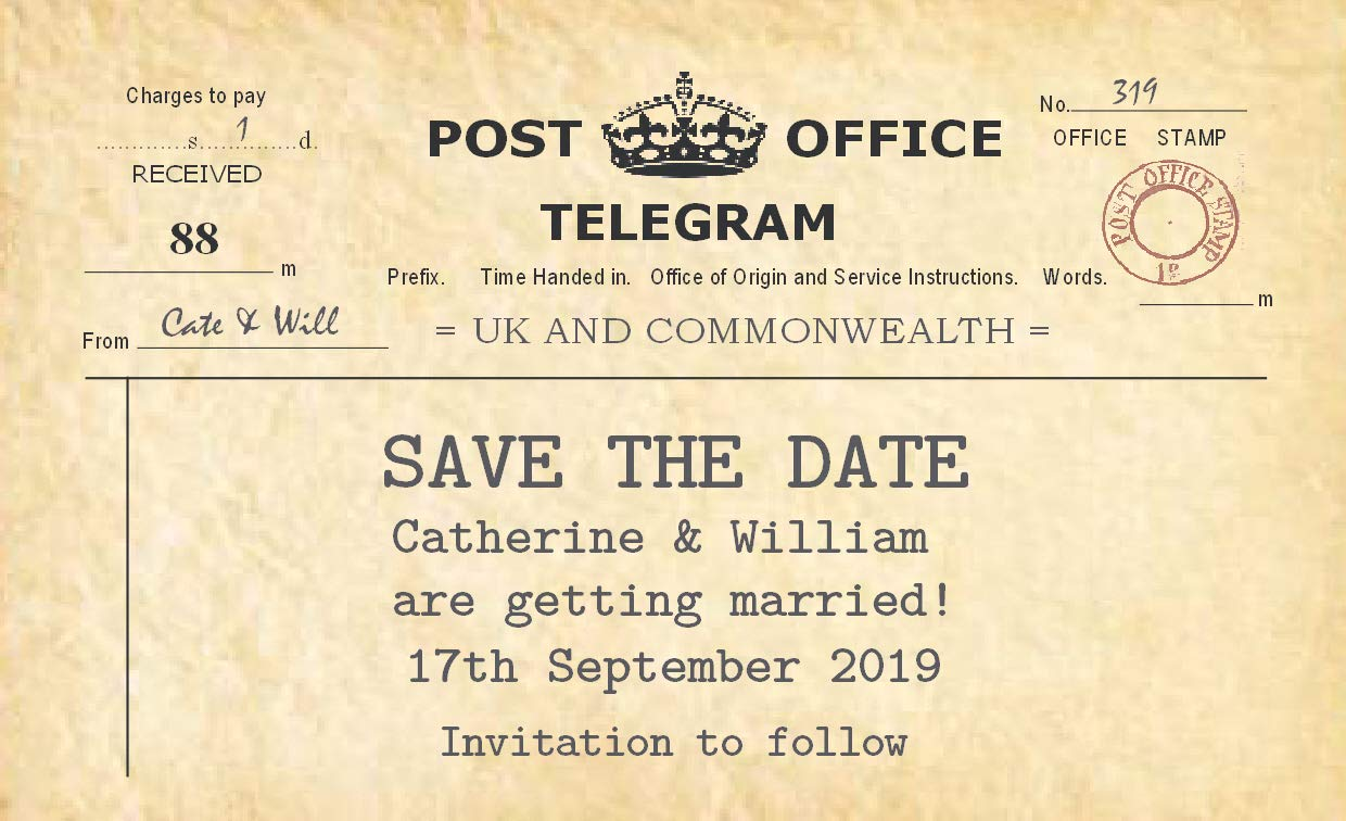 50 Personalised Save The Date Magnets - Telegram Mono- Choice of Envelopes - Free Draft with Your Details The Save The Date People