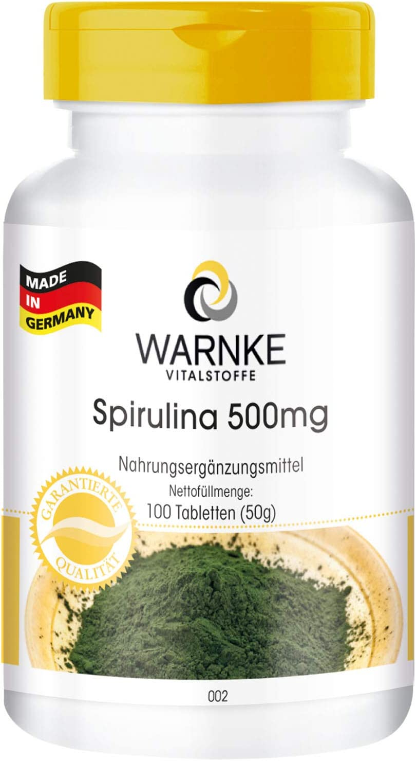 Spirulina 500mg – Polvo de alga Spirulina platensis – Rico en Clorofila – Vegana y sin aditivos – 100 Comprimidos