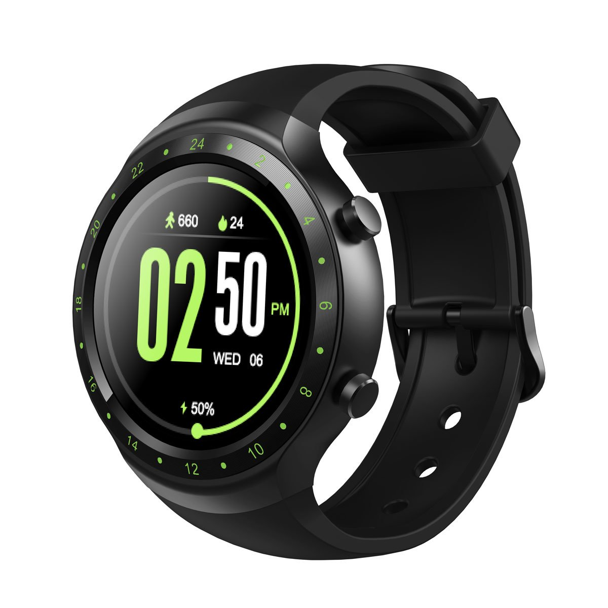 Diggro DI07 Smart Watch Android 5.1 MTK6580 1.1GHz Support 3G Wifi Nano SIM GPS Calling Reminder Heart Rate Monitor Sport Pedometer for Andriod IOS (Fluorescent Green)
