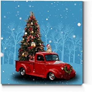 Renditions Gallery Christmas Tree & Red Truck Wall Art, Beautiful Winter Decorations, Cute Dog with Santa Hat, Premium Gallery Wrapped Canvas Decor, Ready to Hang, 24 in H x 24 in W, Made in America