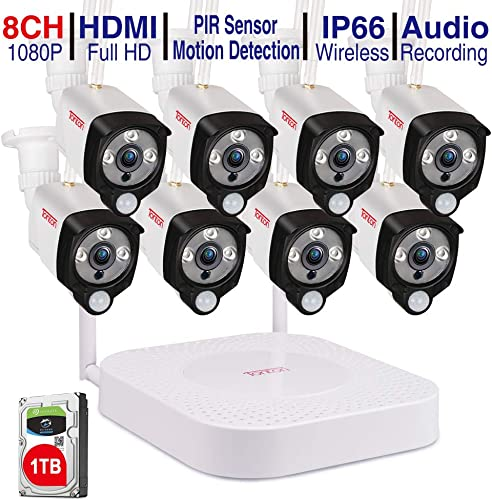Security Camera with Audio Tonton 1080P Full HD Wireless Camera Security System,8CH NVR Recorder with 1TB HDD and 8PCS 1080P 2MP Waterproof Outdoor Bullet Cameras with PIR Sensor,Easy to Install