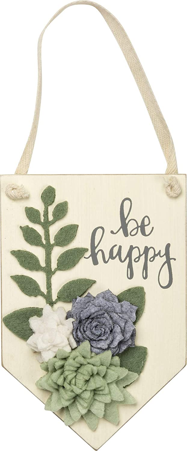 Primitives by Kathy Hand-Lettered Hanging Wall Décor, 4 x 6-Inches, Be Happy