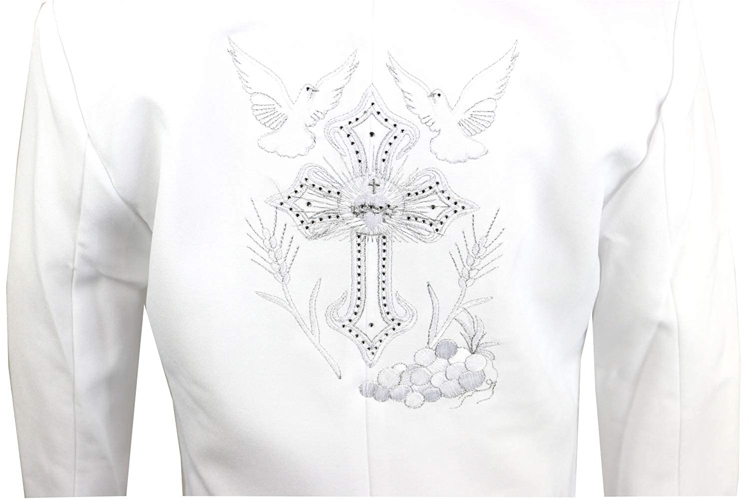 Rafael Baptism Christening Tuxedo with Special Fancy Embroidery on Jacket with Grapevine and Dove Detail