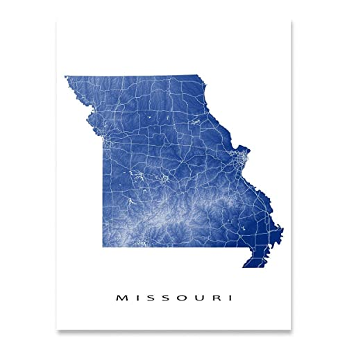 Amazon Com Missouri Map Art Print Mo State Outline Usa Wall