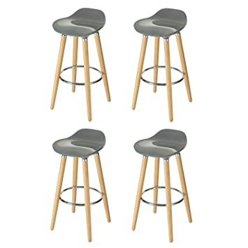 Magnificent Orolay 4 X Abs Plastic Bar Stool Kitchen Breakfast Barstool With Wooden Legs Grey X 4Pcs Short Links Chair Design For Home Short Linksinfo