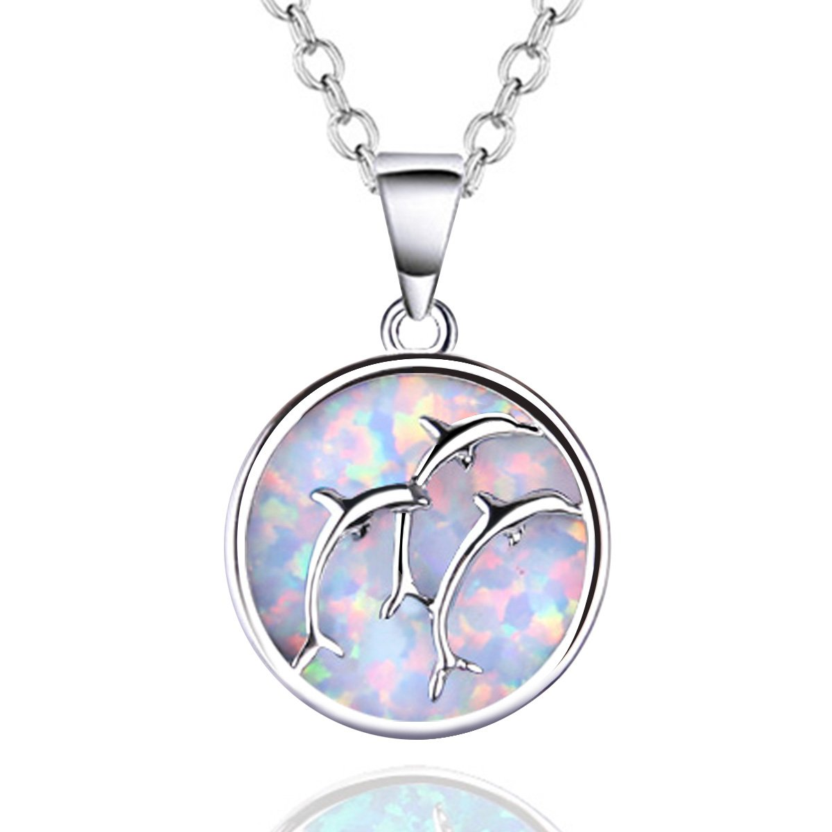 KELITCH Syuthetic Opal Choker Necklace Dolphin Pendant with 16-18'' Chain Necklace (White)