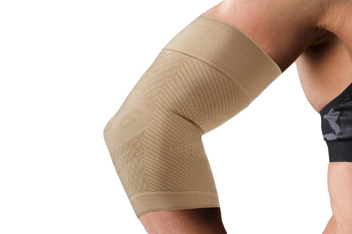 OrthoSleeve ES6 Elbow Bracing Sleeve (One Sleeve) relieves Tennis and Golfer's Elbow pain, General Elbow Pain, Forearm Pain and Reduces Swelling (Natural, XLarge)