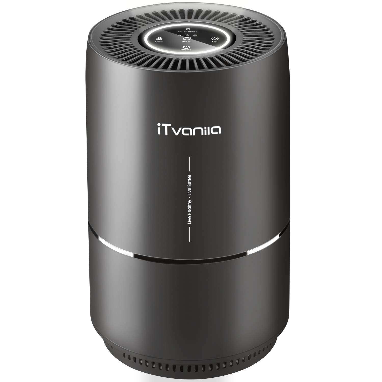 iTvanila Air Purifier, 3-in-1 Air Cleaner Home Air Purifier with True Hepa Filter, Quiet Air Purifier for 99.97% Smoke Odor, Allergies, Dust, Pollen, Pet Dander, Night Light, US-120V