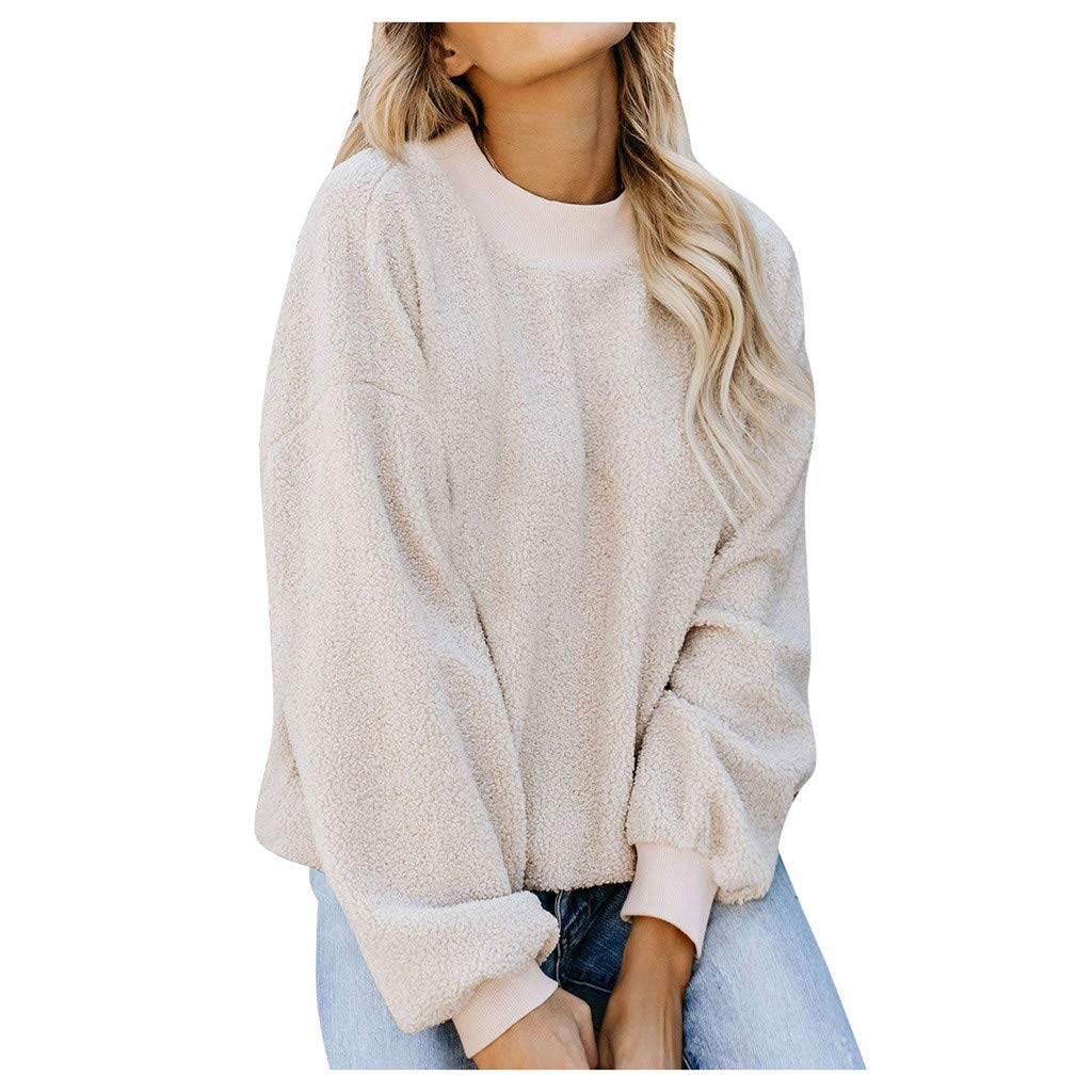 ZOMUSAR Women's Casual Long Sleeve O-Neck Solid Pullover Sweatshirt Fuzzy Fleece Tops Pink,Beige,Gray,Black,Green,Brown,S-2XL by ZOMUSAR