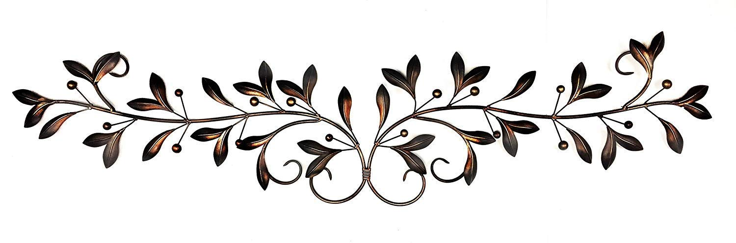 Bellaa 21963 Metal Wall Decor Olive Branch Over The Door 48 Inch by 9 Inch
