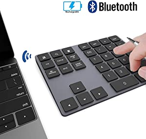 Wireless Numeric Keypad, JOYEKY Aluminum Bluetooth Number Pad 34-Keys External Number Keyboard Shortcut Keypad Data Entry Compatible iMac, MacBook Air, MacBook Pro, MacBook, and Mac Mini etc