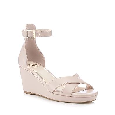 3c44ca0d562 Faith Womens Nude Wust High Wedge Heel Wide Fit Sandals Cream ...