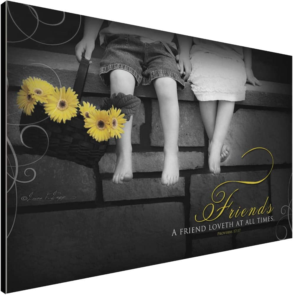 A Friend Loveth at All Times Art Décor Plaque – Proverbs 17:17 Christian Bible Verse with Adorable Children and Sunflowers Background – Handcrafted by Amish in USA From Real Pine Wood, 18 x 12 Inches