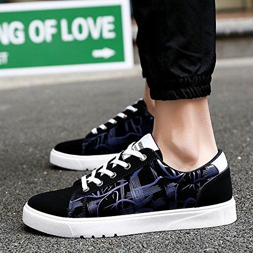 Verni Lacets Plates Supérieure Cricket en de pour Hommes Blue Bas Abstraite Cuir Chaussures Peinture Chaussures à XTwqvxpT