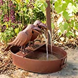 Park Hill Collection Crow Fountain in Farm Tub - Spitter with Pump is Great Decor for Patio, Deck and Home, Folk Art Inspired Metalwork, 22.25x15.5x15 Inches