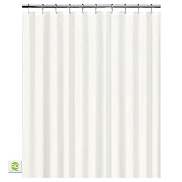 Mildew Resistant Fabric Shower Curtain   72x72 White Polyester Curtain For  Bathroom   Waterproof Odorless Eco