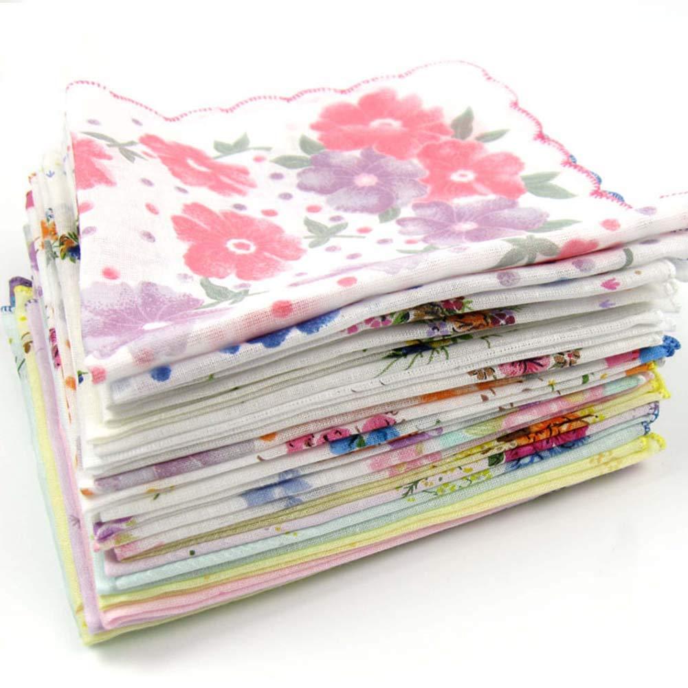 Black Temptation 3 Stück Retro Blumendruck Taschentücher Damen Cotton Handkerchief, 05 GJ-CLO2474944011-HERMINE00644