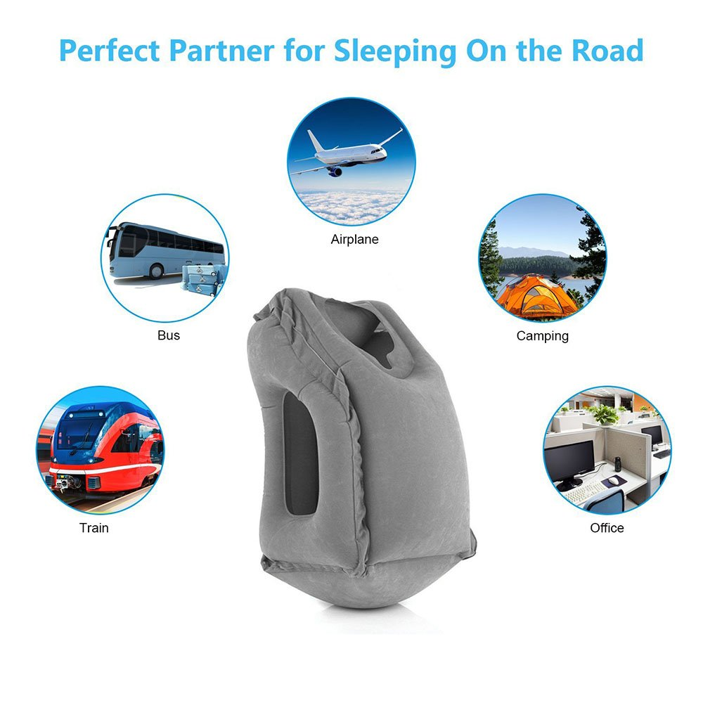 Premium Comfortable Inflatable Portable Head Neck Rest Pillow Povinmos Travel Pillow Sleep Aid Black Outdoor Camping Design for Airplanes Cars Office Napping Buses Trains