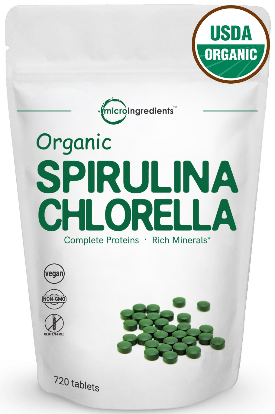 Organic Chlorella & Spirulina 3000mg, 720 Tablets, 120 Servings, Best Superfood for Antioxidant, Prebiotics, Chlorophyll, Amino Acids, Fiber & Proteins, Non-GMO & Vegan Friendly