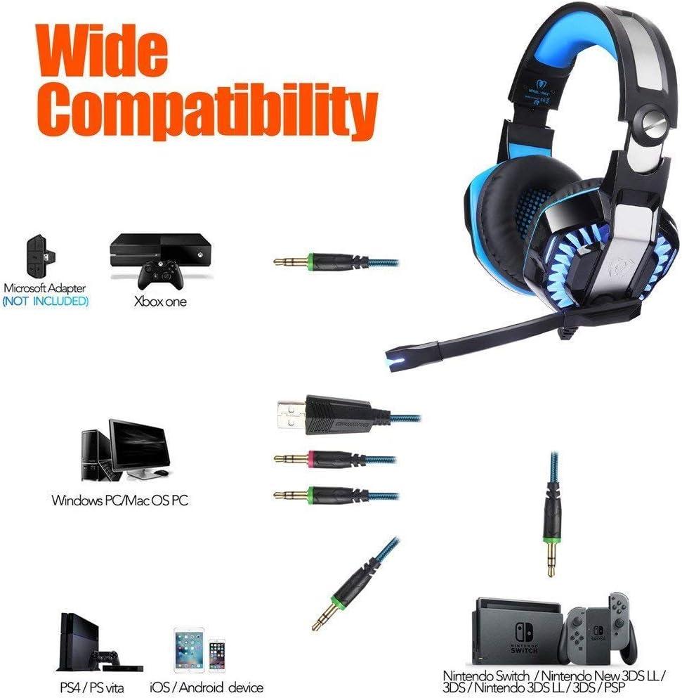 BlueFire Cascos para Xbox One PS4, Auriculares Gaming Bajo Envolvente Estéreo de Luz LED con Micrófono 3.5mm Puerto Compatible con Xbox One, PS4, PC y Smartphone (Azul): Amazon.es: Electrónica