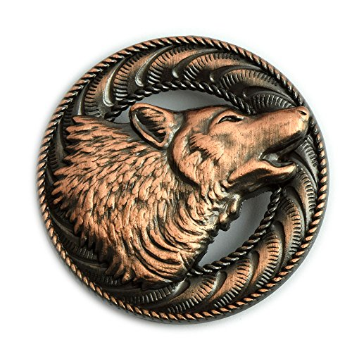 Howling Wolf Screwback Conchos with an Antique Copper Finish.
