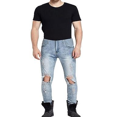 9f011e97f722 Ansenesna Hosen Herren Jeans Lang Destroyed Zerrissen Locker Freizeithose  Männer Vintage Denim  Amazon.de  Bekleidung