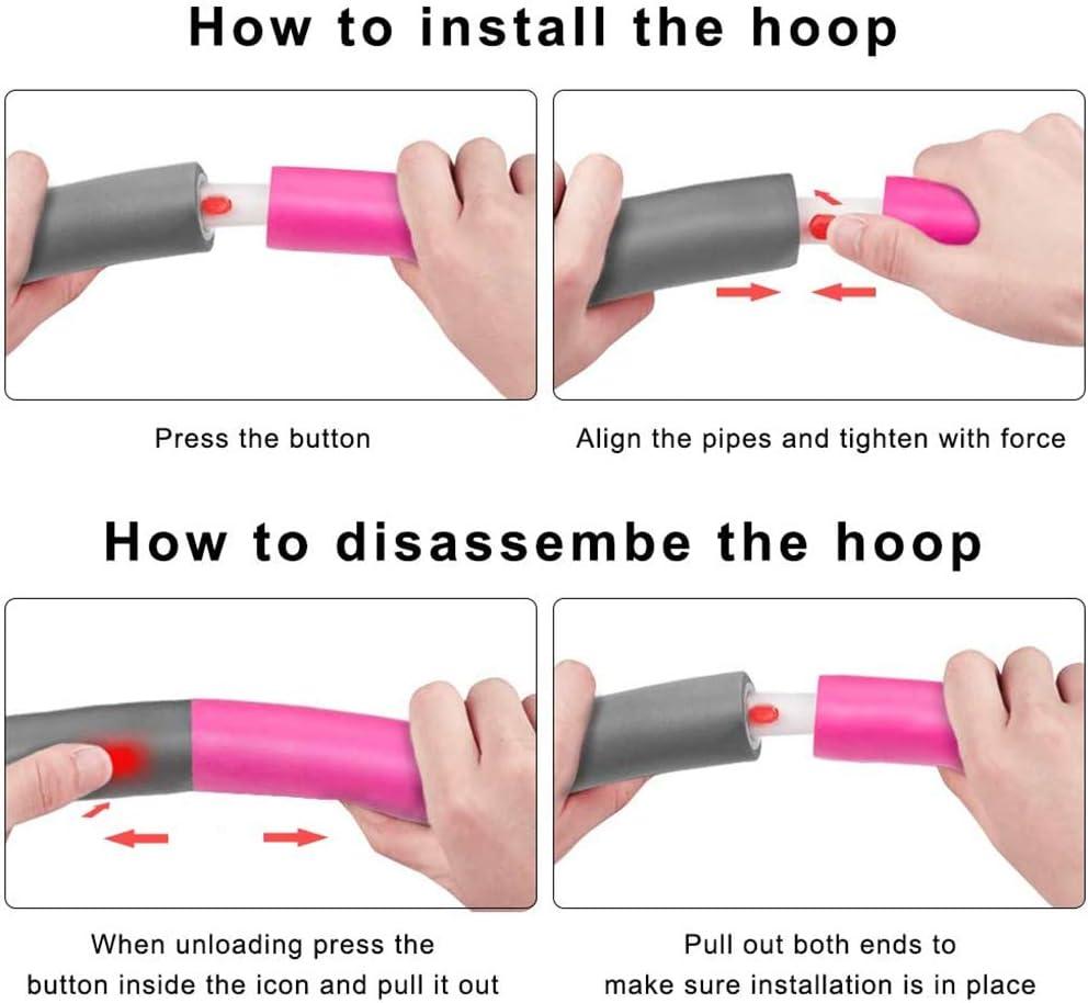 Faviye Hula Hoop Aro de fitness ajustable con 8 secciones de espuma para fitness y p/érdida de peso