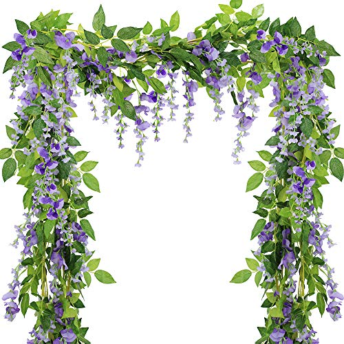SUPLA Pack of 5 Artificial Wisteria Vine in Purple - 6.6' Long - 6 String Flowers - Silk Wisteria Garland Hanging Silk Flowers String Rattan with Green Ivy Leaf for Outdoor Wedding Arch Floral