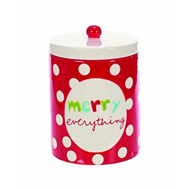 Red Polka Dot Merry Everything 5 x 6 Inch Ceramic Christmas Cookie Jar Container