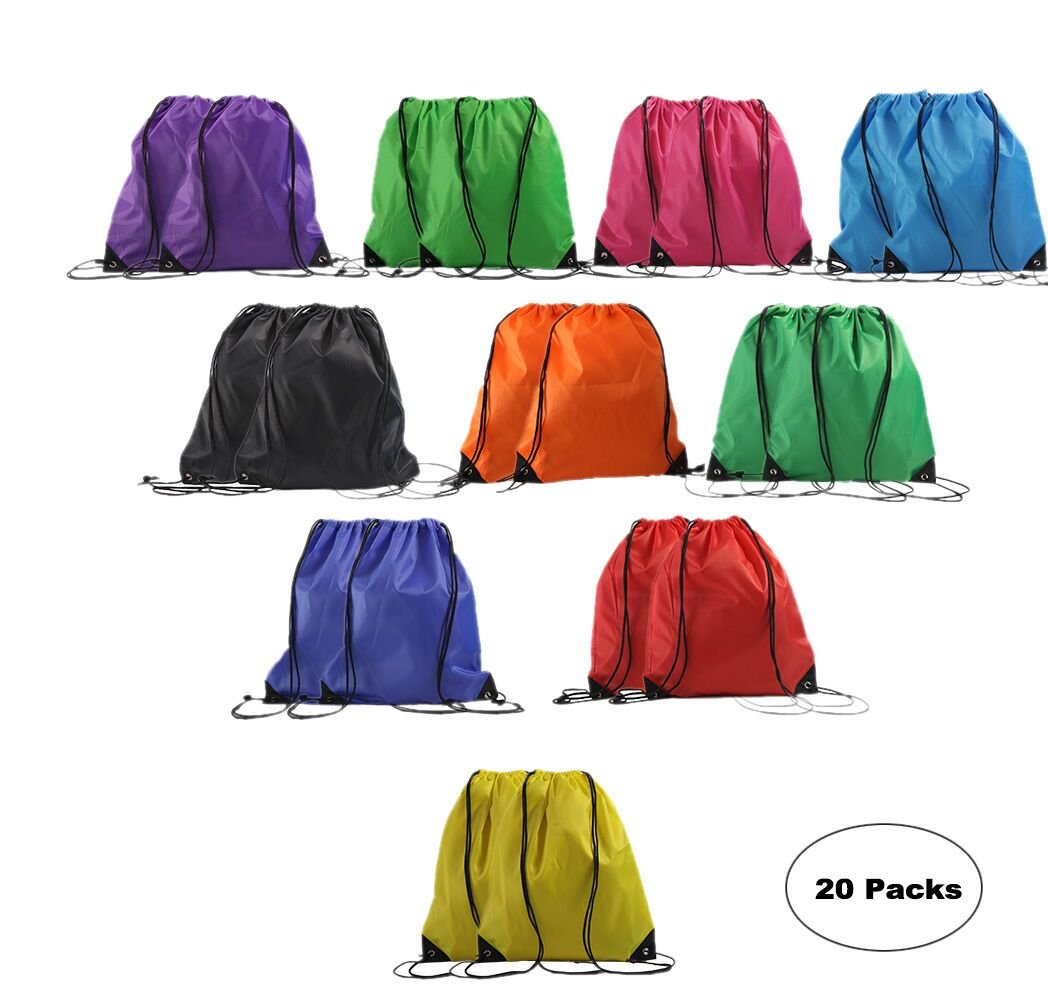 LIHI Bag 20 Pack Ripstop Promotional Drawstring Backpack Party Favor Reusable Sport Cinch Polyester Tote Bag For Giveaways Bulk, 20 Mix Color