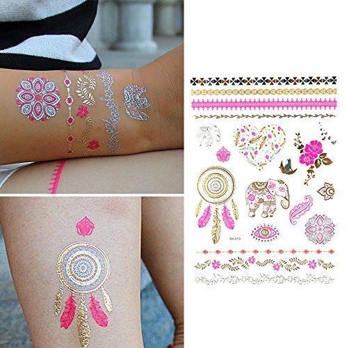 Oottati Tatuajes Temporales Dorados Metalicos Purpurina Elefante ...