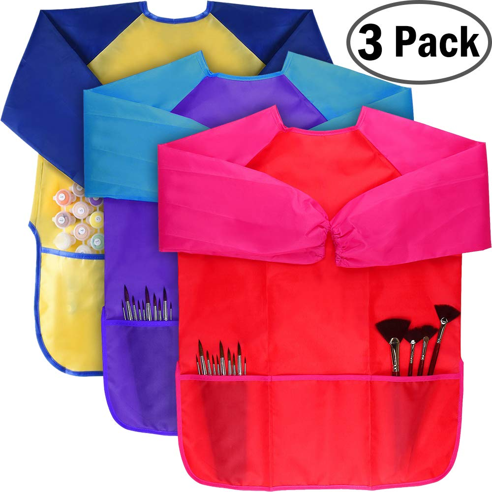 KUCEY Smock for Kids, 3 Pack Kids Art Smock Waterproof Art Painting Apron with 3 Large Pockets and Long Sleeves for Children Age 2-6 for Painting, Baking (Paints and Brushes are not Included) (Small)