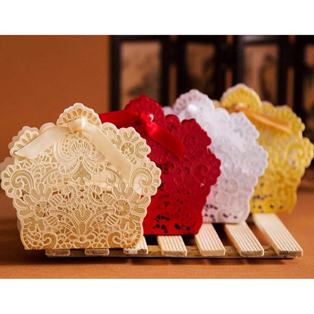 10.5 * 3.4 * 9.4cm Homeng 50/pcs Bo/îte Cadeau pour drag/ées de Mariage Red f/ête de Mariage Bo/îtes /à drag/ées Mariage Candy Box Dentelle Creux Candy Box