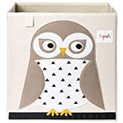 3 Sprouts Organizer Container Cube Storage Box for Kids & Toddlers, White Owl