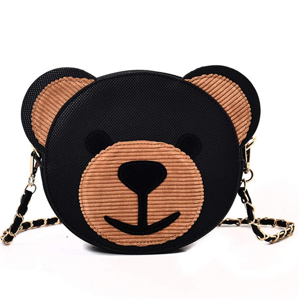 Ladies ' Una Borsa A Tracolla PU Impermeabile Multi Pocket Bear Design Una Borsa Messenger Tote, Black LJSHU