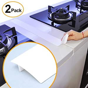 Kitchen Silicone Stove Counter Gap Cover, 25 inch Long & Extra Wide Stove Gap Filler Range Strips 2pcs,Between Oven and Countertop Dishwasher, Dryer,Easy Clean Heat Resistant Gap Guards White