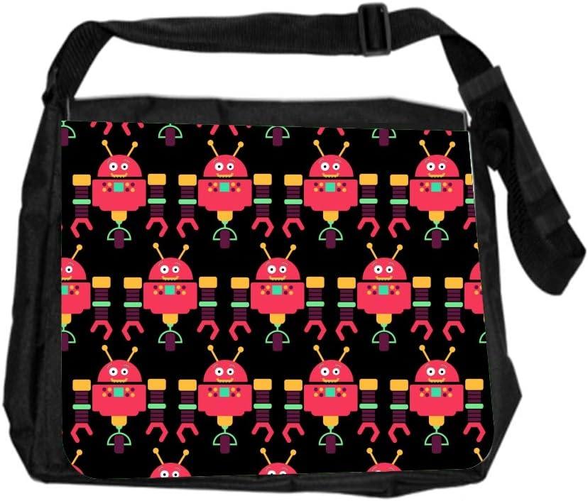 Robot Pink Pattern Cross Body Shoulder Messenger Laptop Bag